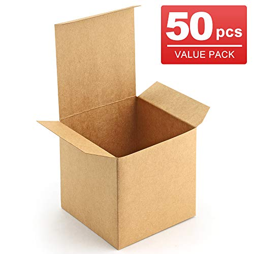 ValBox 3x3x3 Brown Gift Boxes 50pcs Recycled Paper Cube Boxes with Lids for Gifts, Crafting, Cupcake Boxes, Easy Assemble Boxes for Party Favor