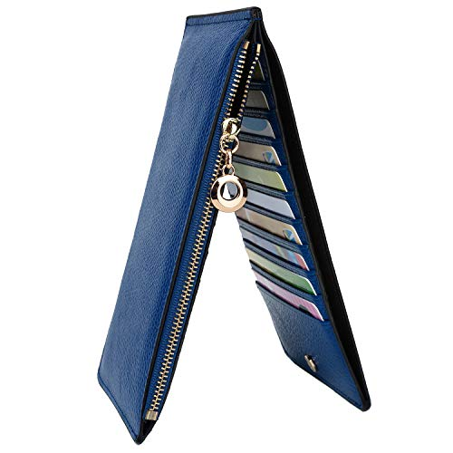 YALUXE Leather Wallet for Women Women's RFID Blocking Genuine Leather Multi Card Organizer Wallet with Zipper Pocket RFID Blocking Blue