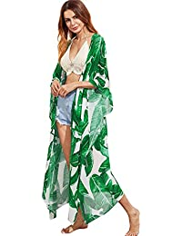 Women's Flowy Kimono Cardigan Open Front Maxi Dress