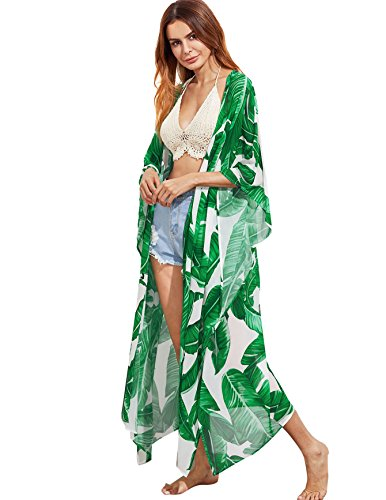 Colorful Blue Leopard - SweatyRocks Women's Flowy Kimono Cardigan Open Front Maxi Dress Green#2 M