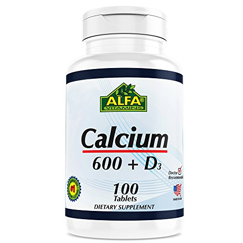 CALCIUM 600mg + D3 Dietary Supplement By ALFA Vitamins - Promotes Healthy Bones - Healthy Teeth - Healthy Heart - Healthy Nervous System -100 - Rates Usps To Australia Shipping