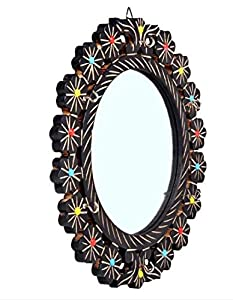 The Bells Wooden Round Shape Decorative Wall Mirror/Makeup Mirror with Glass Beads (16 X 16 Inches)