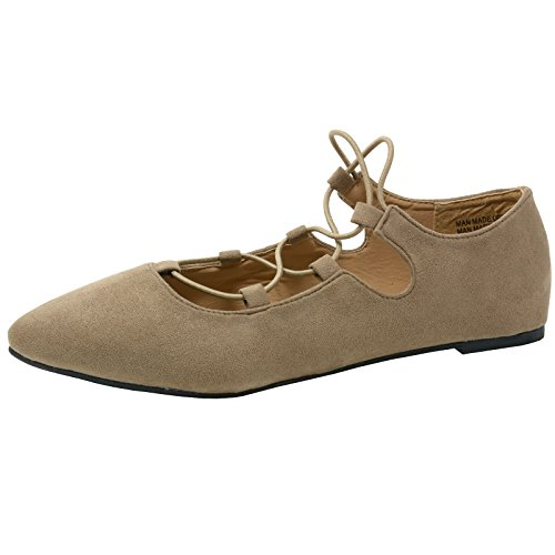 alpine swiss Elena Women's Pointed Toe Ballet Flats Strappy Slip-On Flat Shoes BGE 11 M (Criss Cross Ballerina)