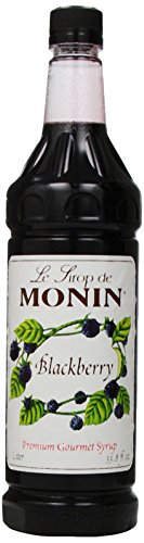 Black Raspberry Liqueur - Monin Flavored Syrup, Blackberry, 33.8-Ounce Plastic Bottles (Pack of 4)