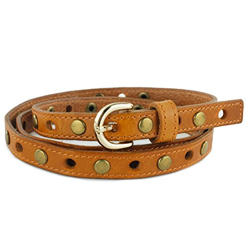 UER Unisex High Quality Cow Leather Buckle Studded Rivet Belt (Tan)