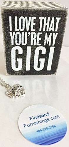 Necklace Heart Kathys - I Love That You'e My GiGi Gift Set Small Wooden Box Sign & Blessed Heart Necklace 2 Piece Grandma Nana Gift Bundle