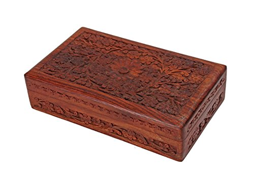 (Deco 89 Multipurpose Handcrafted with Floral Carvings Antique Finished Wooden Jewellery Box Organiser 8 x 5)