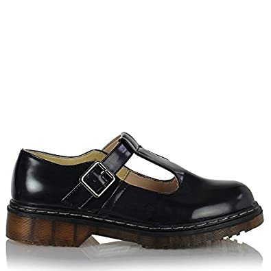 ed829b119d7c Sole Affair STRUT Womens Ladies T Bar Mary Jane Chunky Cleated Platform  Oxford Brogue School Creepers Shoes Black Patent Size UK 4