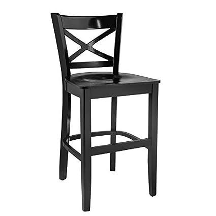 Wondrous Amazon Com Cross Back Counter Stool Black With Wood Seat Spiritservingveterans Wood Chair Design Ideas Spiritservingveteransorg