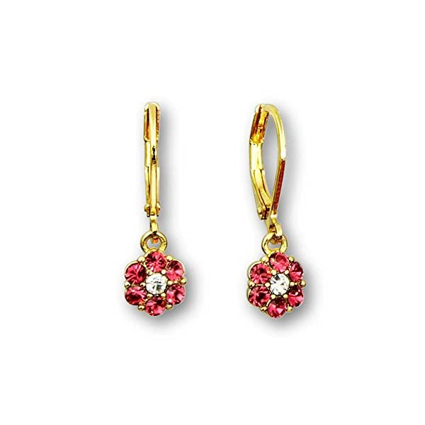 a0251148b 14k Gold Plated Flower Crystal Dangle Earrings for Women | Lever Back  earrings for women | Crystal flower earrings for women: Blue Flower Earrings,  ...