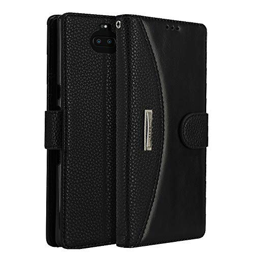 Leather Wallet Phone Case for Sony Xperia 10 Plus, LOKAKA Folding Flip Cases Protective Cover Strong Magnetic Closure Protector with Card Slots Kickstand (Black, 6.5