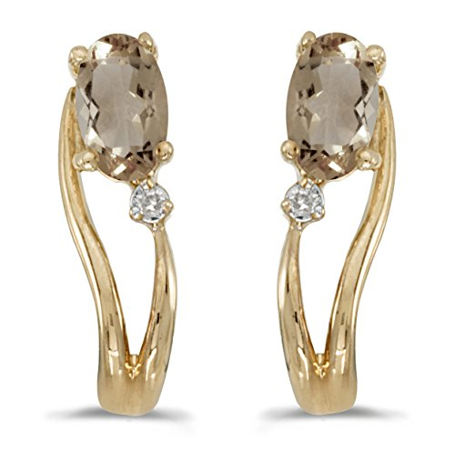 Jewels By Lux 14k Yellow Gold Studs Genuine Birthstone Oval Smokey Topaz And Diamond Wave Earrings (0.3 Cttw.)
