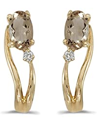 0.30 Carat (ctw) 14k Gold Oval Brown Topaz Curved Wave Stud Earrings with Post with Friction Back (5 MM)