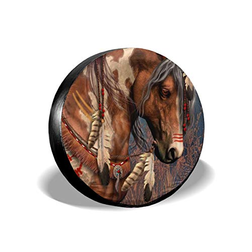 NELife Tire Cover Spirit Indian War Horse Potable Polyester Universal Spare Wheel Tire Cover Wheel Covers for Jeep Trailer RV SUV Truck Camper Travel Trailer Accessories(14,15,16,17 Inch)