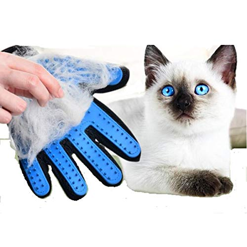XM-Tech Pet Grooming Glove Gentle Pet Hair Remover Glove Pet Hair Comb Rubber Brush for Dog Cat with Long and Short Fur