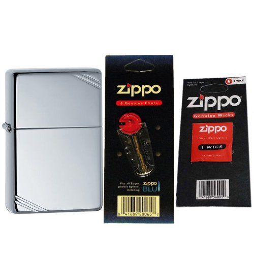 Zippo 260 Vintage High Polish Chrome Slashes Windproof Lighter with One Flint Card and One Wick Card