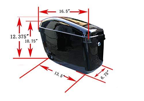 New Hard Saddle bags Saddlebags w/ mounting kits Fit Honda Shadow Kawasaki Vulcan VN Black by EGO BIKE (Image #1)
