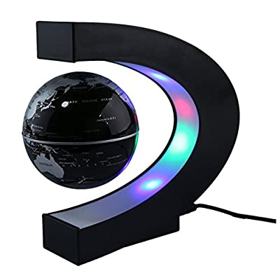 C shape LED World Map Floating Globe Magnetic Levitation Light Antigravity Magic/Novel light Birthday Gift Home Decor (Black) : Baby