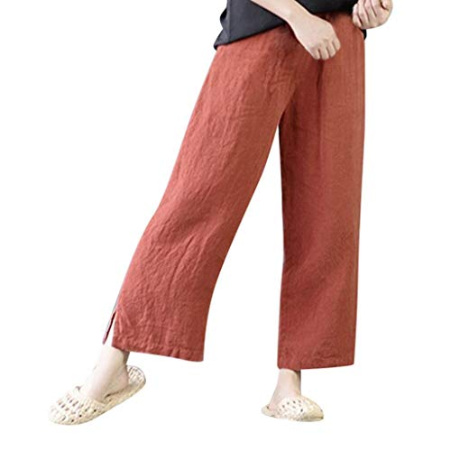 JOFOW Womens Wide Leg Pants Capri Solid Cotton Linen Loose Swing Comfy Elastic High Waist Casual Long Ankle Cropped Trousers (L,Orange Red)
