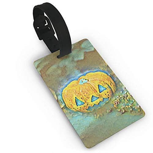 DFGDFGDR Naughty Pumpkin FaceLuggage Tags is PVC Material, Durable Very Suitable for Men and Women in -