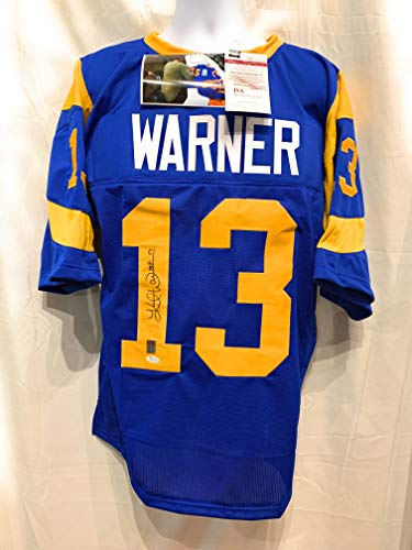 Kurt Warner St Louis Rams Signed Autograph Blue Custom Jersey HOF INSCRIBED Warner Hologram JSA Witnessed Certified ()
