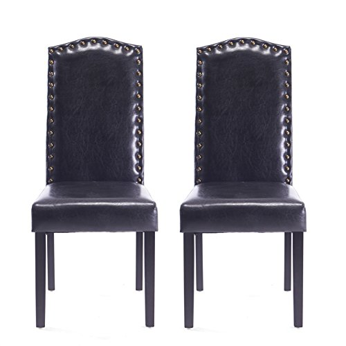 New Model style Comfortable Dining Chair in Home and Garden with Copper Nails and Solid Wood Legs(set of 2) For Sale