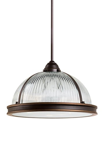 (Sea Gull Lighting 65062EN3-715 Pratt Street Prismatic Three-Light Pendant, Autumn Bronze Finish)