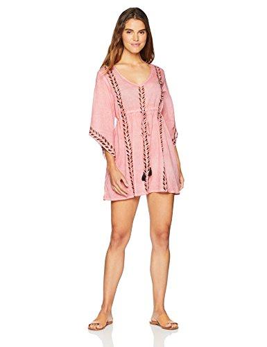 Wild Oasis Beachwear Women's Swimwear Block Printed Elastic Empire Cover Up Kaftan X-Large Peach