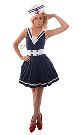 87d71e1e42ba LADIES SAILOR FANCY DRESS COSTUME NAVY OUTFIT PARTY SIZE 8-10 LFD1007S by  Fancy Pants  Amazon.co.uk  Clothing