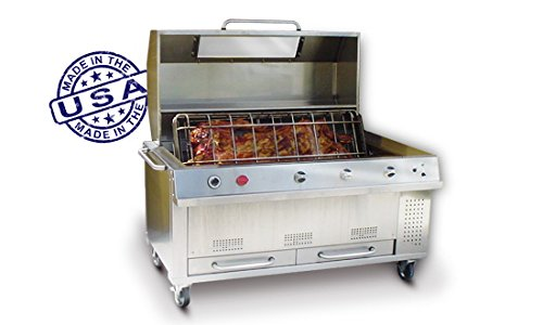 Large Professional BBQ Grill and Rotisserie, 46″ x 22″, Model: JGR-X