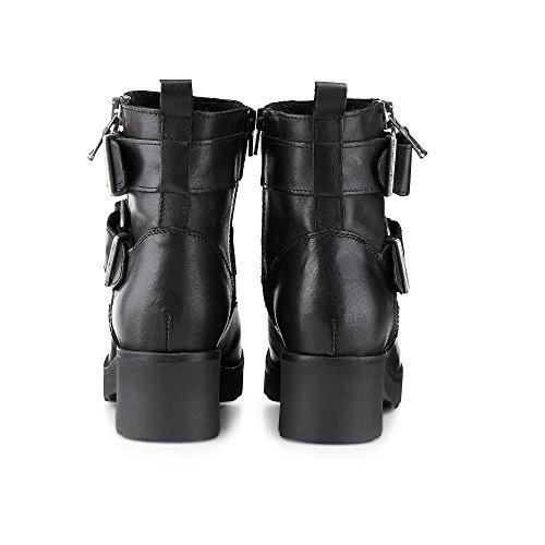 Another A Damen Plateau Stiefeletten, Schwarze Biker Stiefel Aus Leder mit Zipper und Schnallen Schwarz