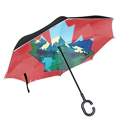 Welcome To Canada Inverted Umbrella Windproof Reverse Travel Umbrella with C Shape Handle