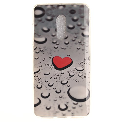 XiaoXiMi Funda XiaoMi RedMi Note 4 Carcasa de Silicona Caucho Gel para XiaoMi RedMi Note 4 Soft TPU Silicone Case Cover Funda Protectora Carcasa Blanda Caso Suave Flexible Caja Delgado Ligero Casco An Corazón Rojo y Gota de Agua
