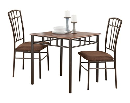 Pilaster Designs - 3-Piece Dining Room Dinette Kitchen Set Square Table and 2 Chairs.