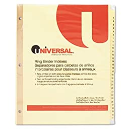 Universal Products - Universal - Plastic-Coated Tab Dividers, 31 Numbered Tabs, Letter, Buff, 31/Set - Sold As 1 Set - Reinforced binding and plastic coated tabs for durability. - Preprinted titles save time. - Three-hole punched for use in standard ring