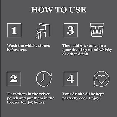GOURMEO - Piedras de Whisky - Set de 9 Cubitos Reutilizables de Esteatita Natural - Whisky Stones para Enfriar Bebidas Vino, Vodka, Ron - Libre de Sabores y Olores