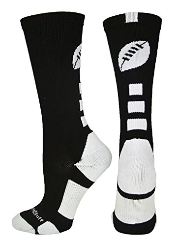 MadSportsStuff Football Logo Crew Socks (Black/White, Medium)