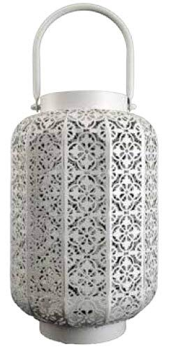 Boston Warehouse 60464 Wildfire Indoor/Outdoor Metal Lantern with LED Simulated Fire Base, White