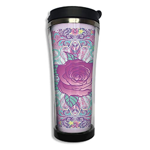 Travel Coffee Mug 3D Printed Portable Vacuum Cup,Insulated Tea Cup Water Bottle Tumblers for Drinking with Lid 14.2oz(420 ml)by,Indie,Psychedelic Mandala Inspired Round Rose Figure 80s 90s Retro ()