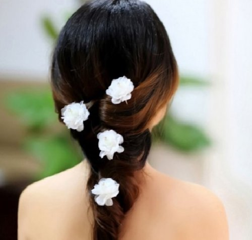 4 Pcs Flower Rhinestones Beads Hair Pins Bridal Bridemaid Flower Girls Accessory Prom Party Wedding -