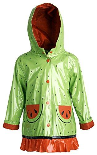 Wippette Baby Girls Waterproof Vinyl Fully Lined Hooded Watermelon Rain Jacket - Green (24 Months)
