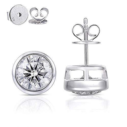 (DovEggs 14K White Gold Post 4ct 8mm Grey Tinted Moissanite Stud Earring Bezel Set Earring Platinum Plated Silver Push Back for Women)