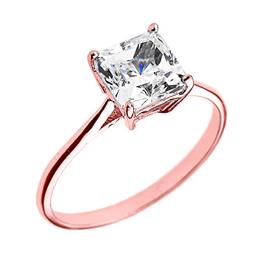 10k Rose Gold CZ Princess Cut Solitaire Engagement Ring (Size 4.75)