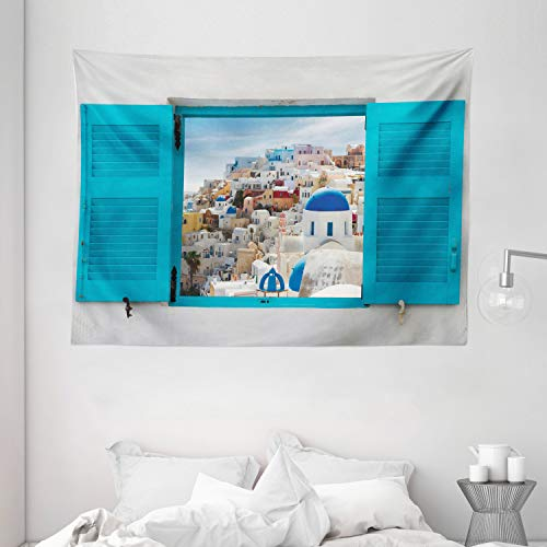 Ambesonne European Tapestry Old Shutters of Window with View of Traditional Greek Village Heritage Culture Wide Wall Hanging for Bedroom Living Room Dorm 80quot X 60quot Gray Blue