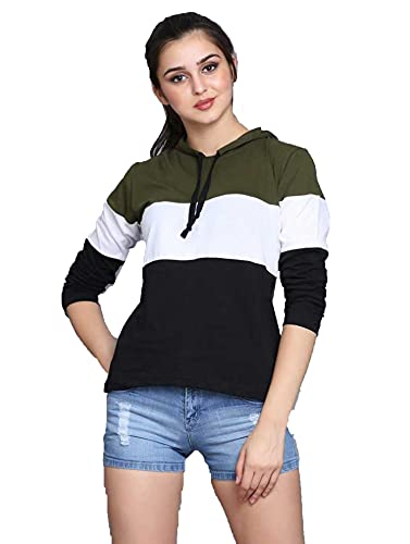 Yes'No Women's Full Sleeve Cotton Hooded T-Shirt