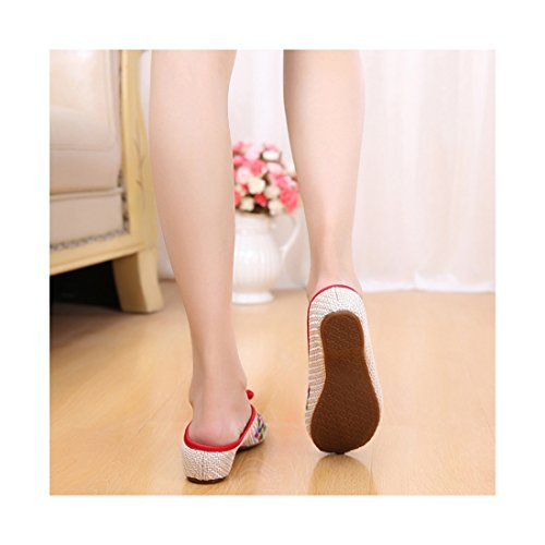 Chaussures Florales Chinoises Brodées Vintage Femme HUDIELAN Ballerines Mary Jane Ballerine Flat Ballet Cotton Loafer Beige