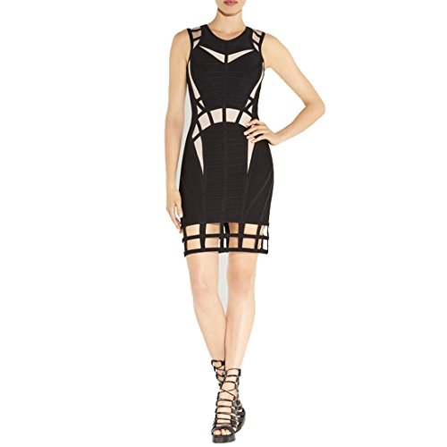HLBCBG - Vestido - Sin mangas - para mujer amarillo / negro