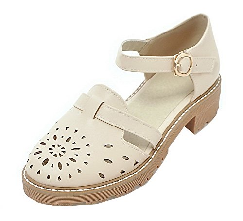 Toe Low Round Sandals Buckle Beige Solid WeiPoot PU Heels Women's Rx7P7q50