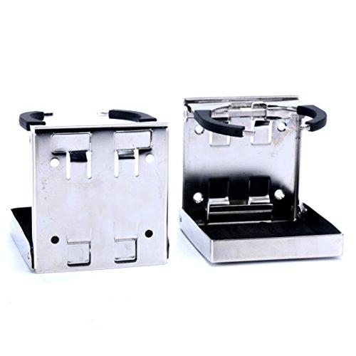 Amarine-made 2pcs Stainless Steel Adjustable Folding Drink Holders Marine/boat/caravan/car