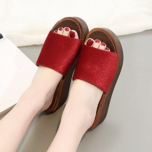 ZPPZZP Ms sandali pantofole spessa a tacco alto stile Coreano 37EU Rosso